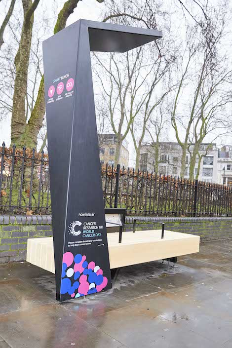 Cancer Research UK has joined forces with smart city business Strawberry Energy to launch a network of Smart Benches (#SmartBenchUK) with contactless technology in time for World Cancer Day on the 4th February. Cancer Research UK is also urging the nation to wear a Unity Band® on 4 February 2017, World Cancer Day, creating one incredible #ActofUnity that will help beat cancer sooner. For further information, please visit: cruk.org/worldcancerday